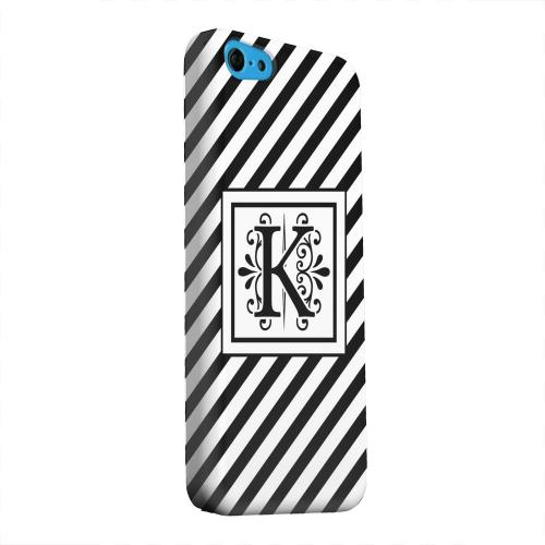 Geeks Designer Line (GDL) Apple iPhone 5C Matte Hard Back Cover - Vintage Vine Monogram K On Black Slanted Stripes