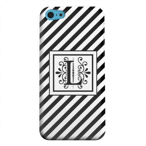 Geeks Designer Line (GDL) Apple iPhone 5C Matte Hard Back Cover - Vintage Vine Monogram L On Black Slanted Stripes