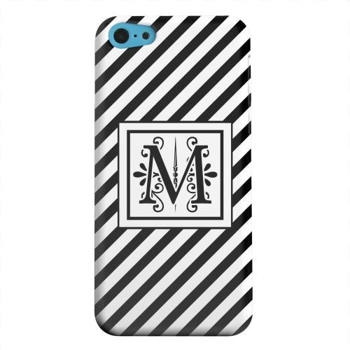 Geeks Designer Line (GDL) Apple iPhone 5C Matte Hard Back Cover - Vintage Vine Monogram M On Black Slanted Stripes