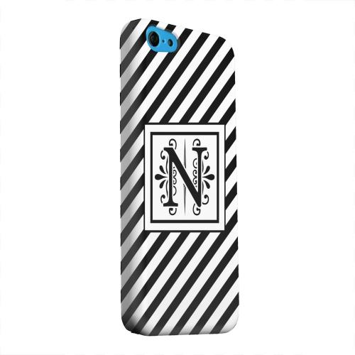 Geeks Designer Line (GDL) Apple iPhone 5C Matte Hard Back Cover - Vintage Vine Monogram N On Black Slanted Stripes