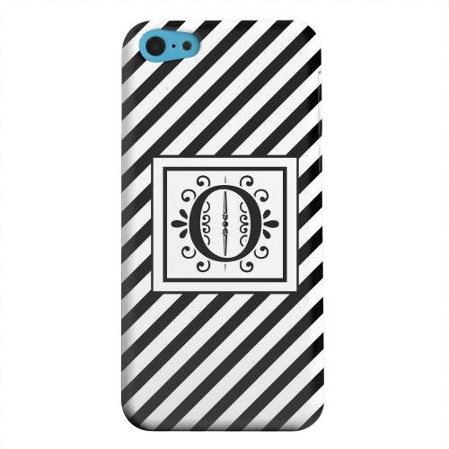 Geeks Designer Line (GDL) Apple iPhone 5C Matte Hard Back Cover - Vintage Vine Monogram O On Black Slanted Stripes