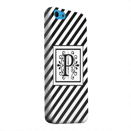 Geeks Designer Line (GDL) Apple iPhone 5C Matte Hard Back Cover - Vintage Vine Monogram P On Black Slanted Stripes