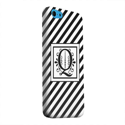 Geeks Designer Line (GDL) Apple iPhone 5C Matte Hard Back Cover - Vintage Vine Monogram Q On Black Slanted Stripes