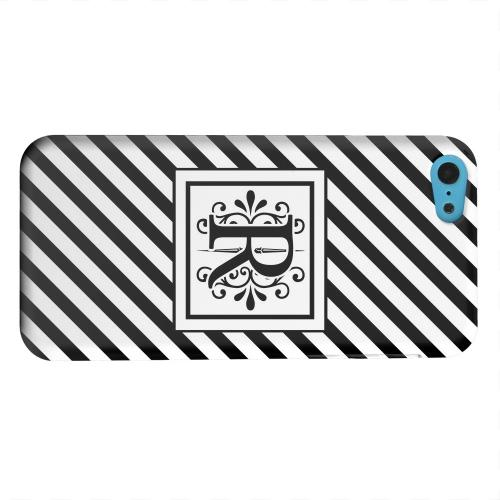 Geeks Designer Line (GDL) Apple iPhone 5C Matte Hard Back Cover - Vintage Vine Monogram R On Black Slanted Stripes