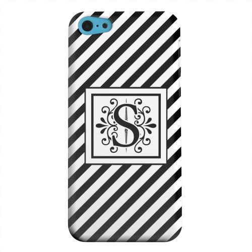 Geeks Designer Line (GDL) Apple iPhone 5C Matte Hard Back Cover - Vintage Vine Monogram S On Black Slanted Stripes