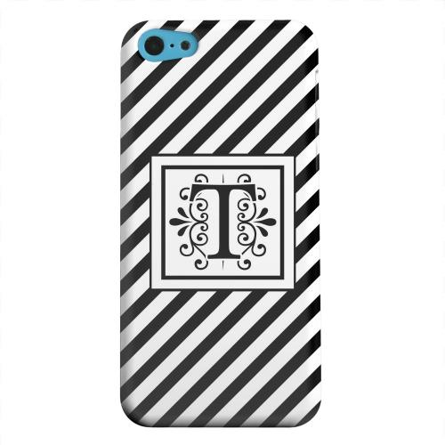 Geeks Designer Line (GDL) Apple iPhone 5C Matte Hard Back Cover - Vintage Vine Monogram T On Black Slanted Stripes