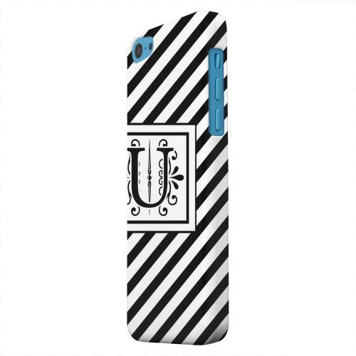 Geeks Designer Line (GDL) Apple iPhone 5C Matte Hard Back Cover - Vintage Vine Monogram U On Black Slanted Stripes
