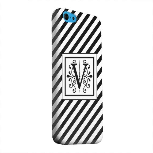 Geeks Designer Line (GDL) Apple iPhone 5C Matte Hard Back Cover - Vintage Vine Monogram V On Black Slanted Stripes