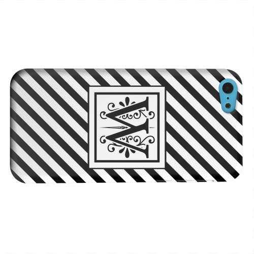 Geeks Designer Line (GDL) Apple iPhone 5C Matte Hard Back Cover - Vintage Vine Monogram W On Black Slanted Stripes