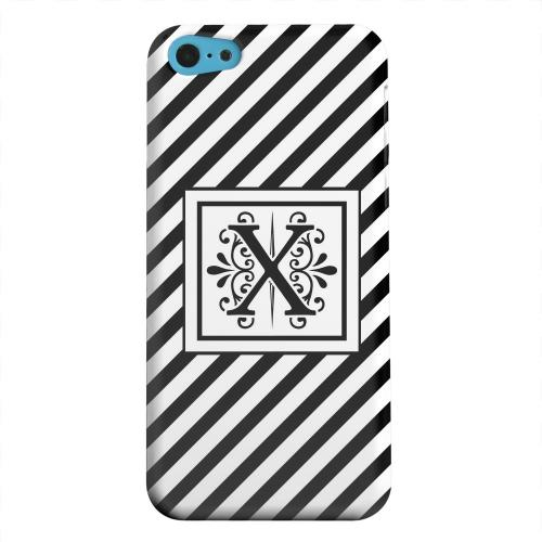 Geeks Designer Line (GDL) Apple iPhone 5C Matte Hard Back Cover - Vintage Vine Monogram X On Black Slanted Stripes