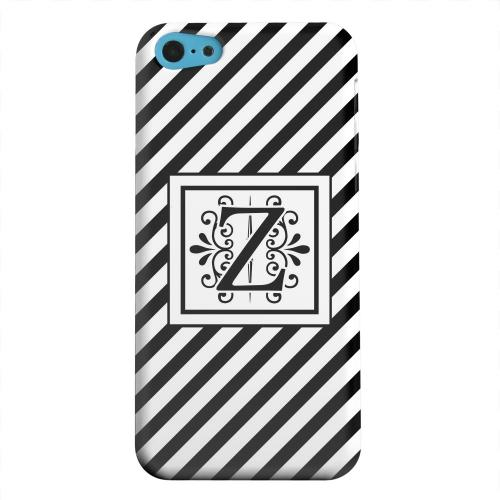 Geeks Designer Line (GDL) Apple iPhone 5C Matte Hard Back Cover - Vintage Vine Monogram Z On Black Slanted Stripes