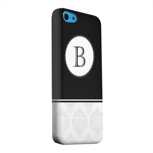 Geeks Designer Line (GDL) Apple iPhone 5C Matte Hard Back Cover - Black Monogram B w/ White Damask Design