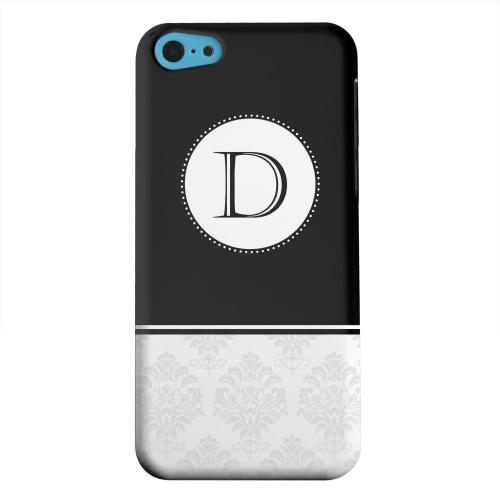 Geeks Designer Line (GDL) Apple iPhone 5C Matte Hard Back Cover - Black Monogram D w/ White Damask Design