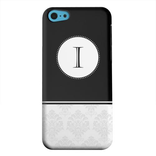 Geeks Designer Line (GDL) Apple iPhone 5C Matte Hard Back Cover - Black Monogram I w/ White Damask Design
