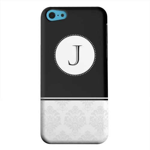 Geeks Designer Line (GDL) Apple iPhone 5C Matte Hard Back Cover - Black Monogram J w/ White Damask Design