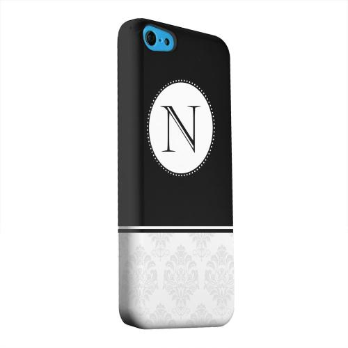 Geeks Designer Line (GDL) Apple iPhone 5C Matte Hard Back Cover - Black Monogram N w/ White Damask Design