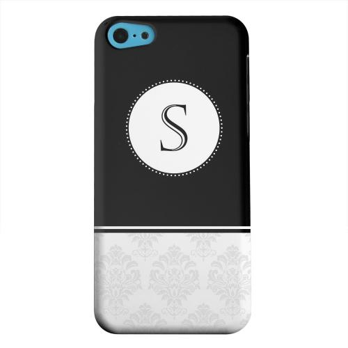 Geeks Designer Line (GDL) Apple iPhone 5C Matte Hard Back Cover - Black Monogram S w/ White Damask Design
