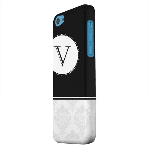 Geeks Designer Line (GDL) Apple iPhone 5C Matte Hard Back Cover - Black Monogram V w/ White Damask Design