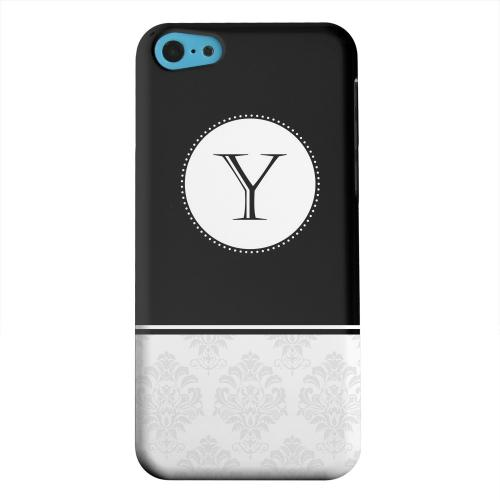 Geeks Designer Line (GDL) Apple iPhone 5C Matte Hard Back Cover - Black Monogram Y w/ White Damask Design