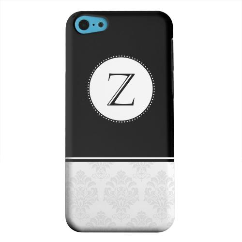 Geeks Designer Line (GDL) Apple iPhone 5C Matte Hard Back Cover - Black Monogram Z w/ White Damask Design