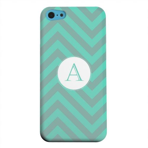 Geeks Designer Line (GDL) Apple iPhone 5C Matte Hard Back Cover - Seafoam Green Monogram A on Zig Zags