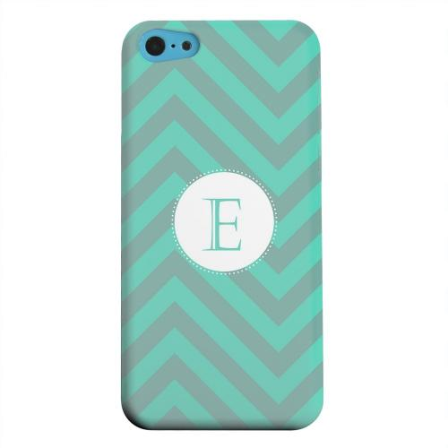 Geeks Designer Line (GDL) Apple iPhone 5C Matte Hard Back Cover - Seafoam Green Monogram E on Zig Zags