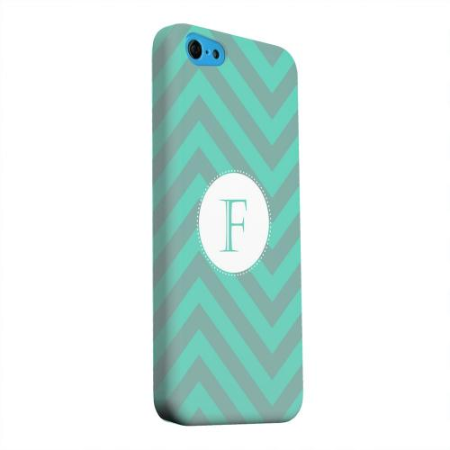 Geeks Designer Line (GDL) Apple iPhone 5C Matte Hard Back Cover - Seafoam Green Monogram F on Zig Zags