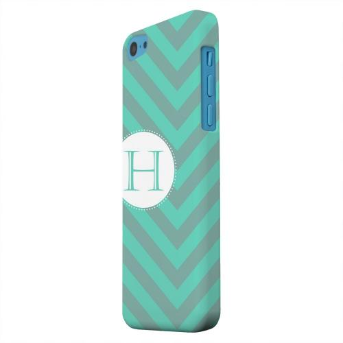 Geeks Designer Line (GDL) Apple iPhone 5C Matte Hard Back Cover - Seafoam Green Monogram H on Zig Zags