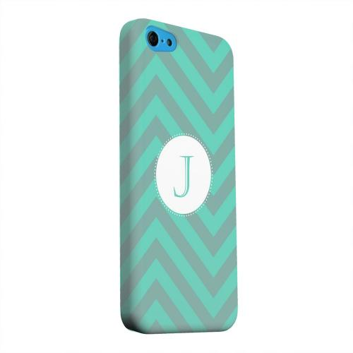 Geeks Designer Line (GDL) Apple iPhone 5C Matte Hard Back Cover - Seafoam Green Monogram J on Zig Zags