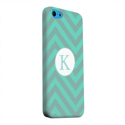 Geeks Designer Line (GDL) Apple iPhone 5C Matte Hard Back Cover - Seafoam Green Monogram K on Zig Zags