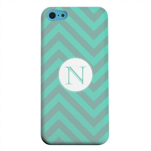 Geeks Designer Line (GDL) Apple iPhone 5C Matte Hard Back Cover - Seafoam Green Monogram N on Zig Zags