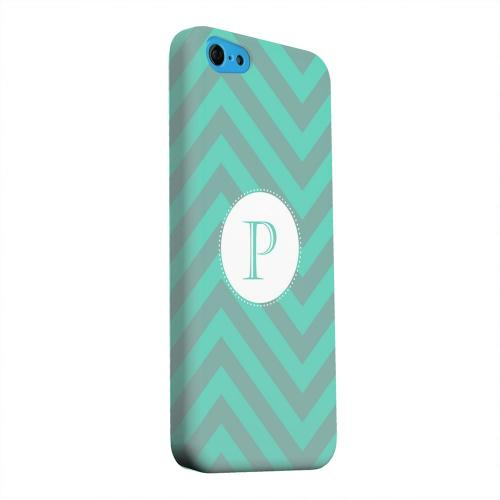 Geeks Designer Line (GDL) Apple iPhone 5C Matte Hard Back Cover - Seafoam Green Monogram P on Zig Zags