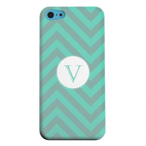 Geeks Designer Line (GDL) Apple iPhone 5C Matte Hard Back Cover - Seafoam Green Monogram V on Zig Zags