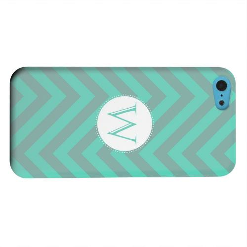 Geeks Designer Line (GDL) Apple iPhone 5C Matte Hard Back Cover - Seafoam Green Monogram W on Zig Zags
