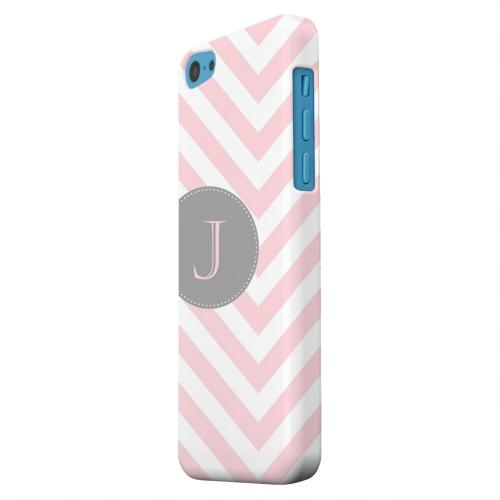 Geeks Designer Line (GDL) Apple iPhone 5C Matte Hard Back Cover - Gray Button Monogram J on Pale Pink Zig Zags