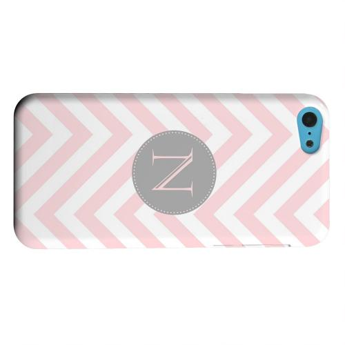 Geeks Designer Line (GDL) Apple iPhone 5C Matte Hard Back Cover - Gray Button Monogram N on Pale Pink Zig Zags