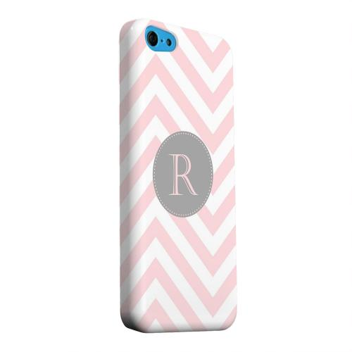 Geeks Designer Line (GDL) Apple iPhone 5C Matte Hard Back Cover - Gray Button Monogram R on Pale Pink Zig Zags