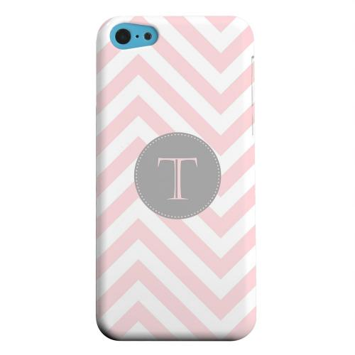 Geeks Designer Line (GDL) Apple iPhone 5C Matte Hard Back Cover - Gray Button Monogram T on Pale Pink Zig Zags