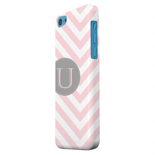 Geeks Designer Line (GDL) Apple iPhone 5C Matte Hard Back Cover - Gray Button Monogram U on Pale Pink Zig Zags