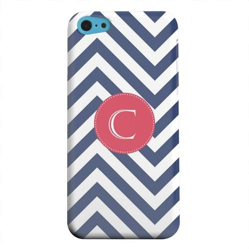 Geeks Designer Line (GDL) Apple iPhone 5C Matte Hard Back Cover - Cherry Button Monogram C on Navy Blue Zig Zags