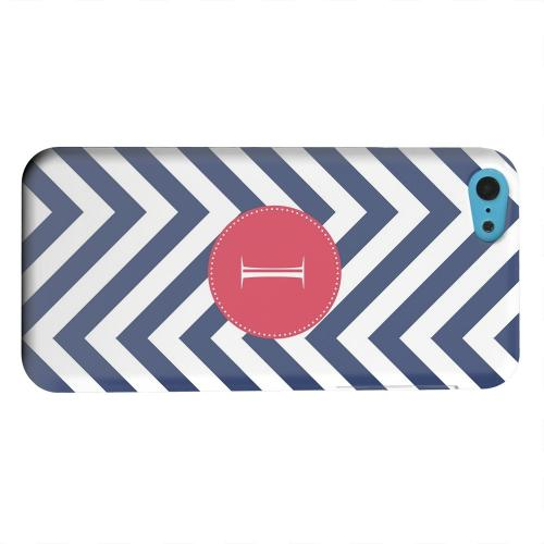 Geeks Designer Line (GDL) Apple iPhone 5C Matte Hard Back Cover - Cherry Button Monogram I on Navy Blue Zig Zags