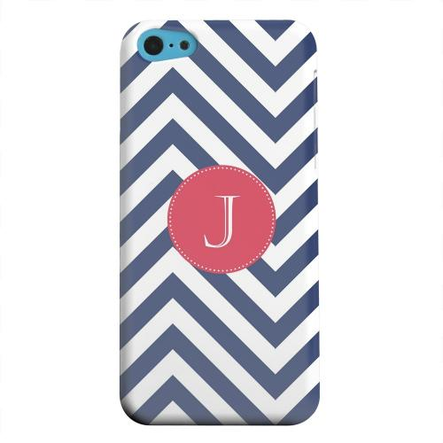 Geeks Designer Line (GDL) Apple iPhone 5C Matte Hard Back Cover - Cherry Button Monogram J on Navy Blue Zig Zags
