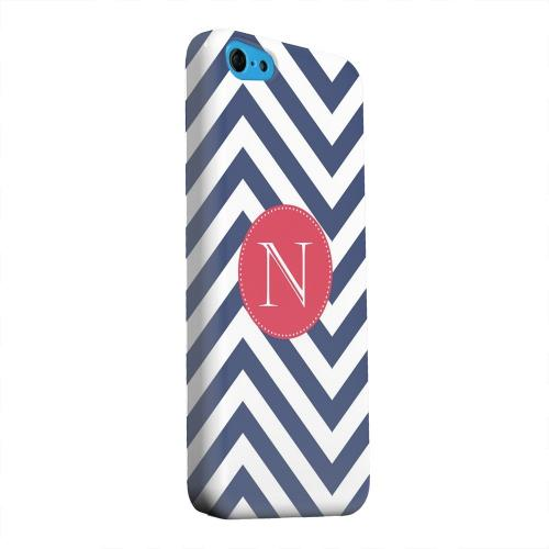 Geeks Designer Line (GDL) Apple iPhone 5C Matte Hard Back Cover - Cherry Button Monogram N on Navy Blue Zig Zags