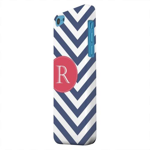 Geeks Designer Line (GDL) Apple iPhone 5C Matte Hard Back Cover - Cherry Button Monogram R on Navy Blue Zig Zags