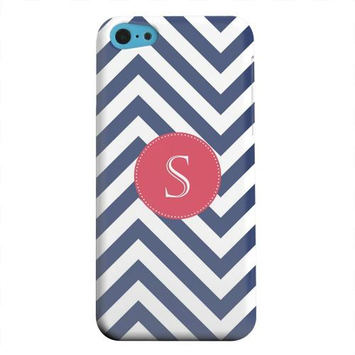 Geeks Designer Line (GDL) Apple iPhone 5C Matte Hard Back Cover - Cherry Button Monogram S on Navy Blue Zig Zags