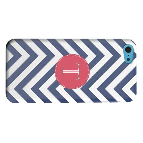 Geeks Designer Line (GDL) Apple iPhone 5C Matte Hard Back Cover - Cherry Button Monogram T on Navy Blue Zig Zags