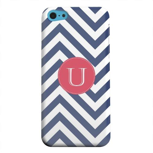Geeks Designer Line (GDL) Apple iPhone 5C Matte Hard Back Cover - Cherry Button Monogram U on Navy Blue Zig Zags