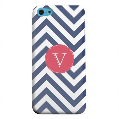Geeks Designer Line (GDL) Apple iPhone 5C Matte Hard Back Cover - Cherry Button Monogram V on Navy Blue Zig Zags