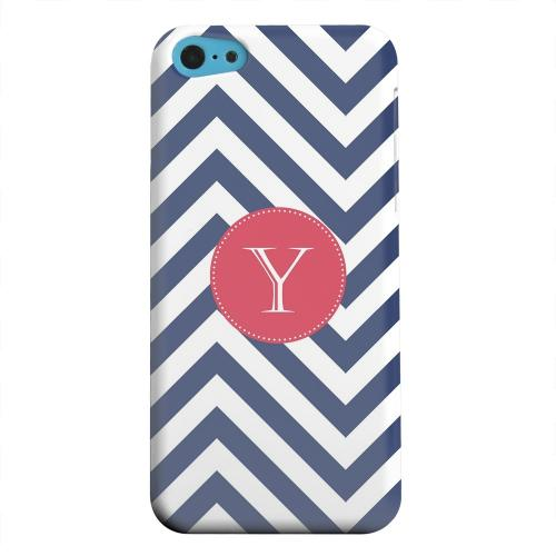 Geeks Designer Line (GDL) Apple iPhone 5C Matte Hard Back Cover - Cherry Button Monogram Y on Navy Blue Zig Zags