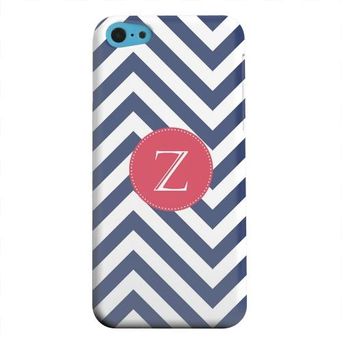 Geeks Designer Line (GDL) Apple iPhone 5C Matte Hard Back Cover - Cherry Button Monogram Z on Navy Blue Zig Zags
